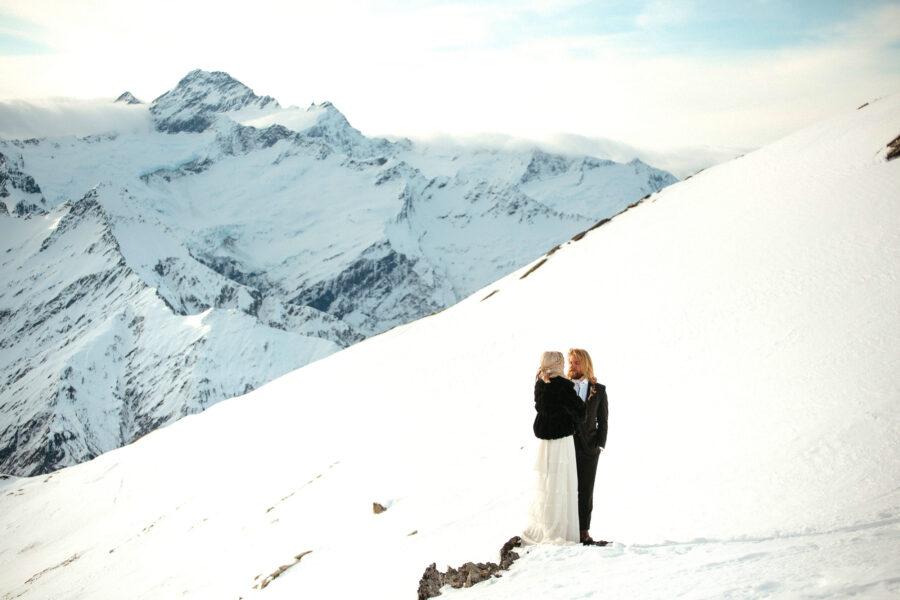 Fog Peak Wanaka Heli Wedding Winter