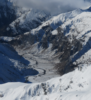 Shotover valley in snow